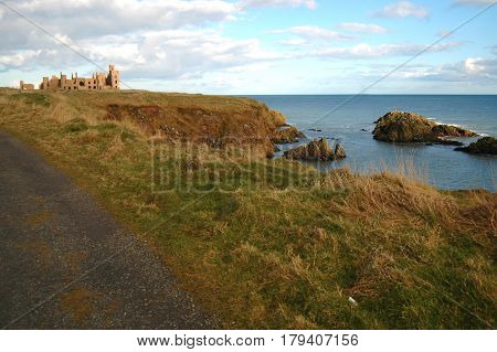 Track leading to Slains Castle, by the North Sea, inspiration for Dracula