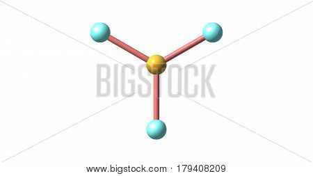 Boron trifluoride is the inorganic compound with the formula BF3. This pungent toxic gas forms white fumes in moist air. It is a versatile building block for other boron compounds. 3d illustration