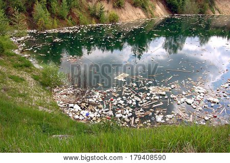 Environmental pollution. Industrial quarry with ejected debris