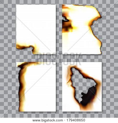 Set Of Burnt Sheets Of Paper With Ash. Damage Edge And Destroyed Sheet. On Transparent Background Ve