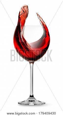 Elegant red wine splashing in wineglass isolated on white