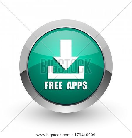 Free apps silver metallic chrome web design green round internet icon with shadow on white background.