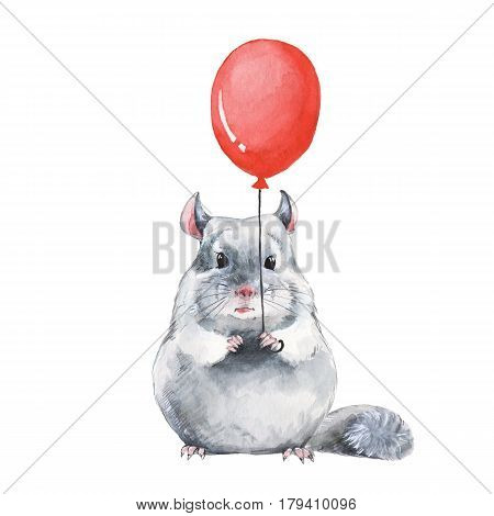 Chinchilla and red balloon. Watercolor birthday card