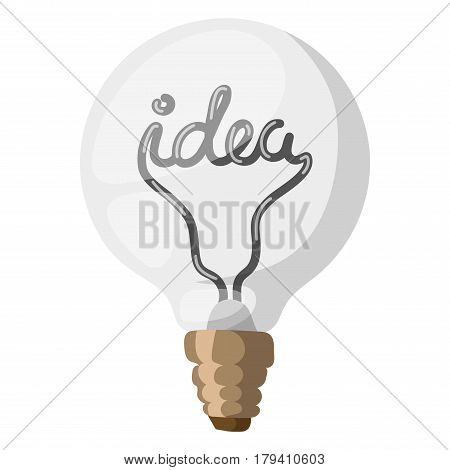 Vector idea light bulb icon with concept of idea. Doodle idea lamp sign. Illustration idea lamp electricity symbol and electric bright drawing graphic. Business simple technology lamp.