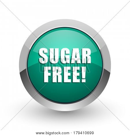 Sugar free silver metallic chrome web design green round internet icon with shadow on white background.