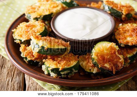 Spicy Fried Zucchini In Breadcrumbs Panko And Sour Cream Close-up. Horizontal