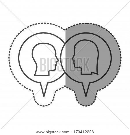 sticker monochrome with dialogue between man and woman vector illustration