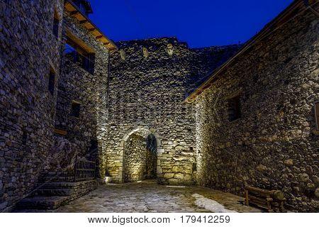 Door to the defensive city Boi in the Bohi Valley Spain