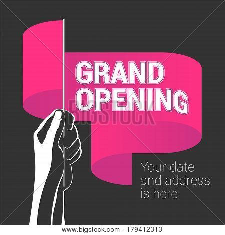 Grand opening vector illustration with wavy banner in the hand. Template design element for opening ceremony can be used as poster