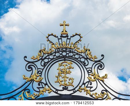 The golden monogram of the Russian Empress Catherine the First
