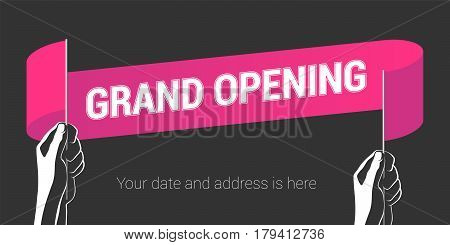 Grand opening vector illustration with wavy flag in the hand. Template design element for opening ceremony can be used as banner or poster