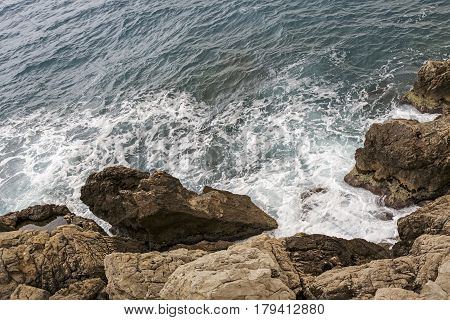 Rocky cliff at the sea coast in Nice in France