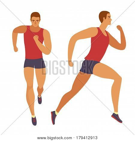 Dynamic running man set. Front and side view. Sport and healthy lifestyle illustration for your design.