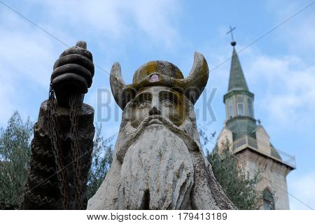 St. Zachariah statue in Visitation Church Ein Kerem near Jerusalem Israel