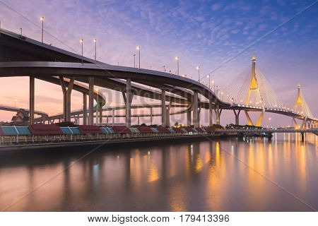 Twing Suspension bridge with beautiful sky after sunset background river front