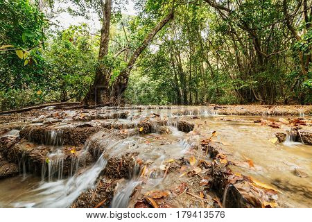 The Waterfall dry season in nature forest