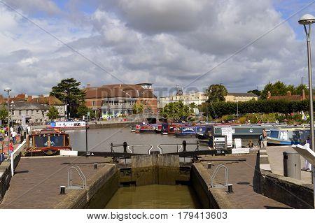 Stratford-upon-Avon Warwickshire England - August 18 2014 : Canal barges on the Stratford upon Avon canal