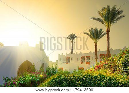 Bright morning sun in Egyptian resort hotel