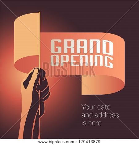 Grand opening vector illustration banner for new store shopping centre etc. Template design element decoration for opening event