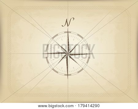 vector drawing of a compass on old parchment. frame made of rope. brown