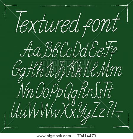 Hand drawn textured vector ABC letters set with decorative frame. Italic doodle grungy font for your design.