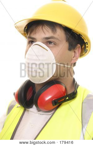 Builder Or Carpenter With Face Mask