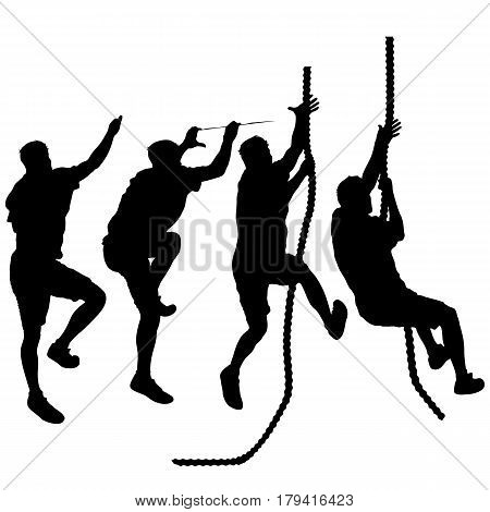 Set Black silhouette rock climber on white background.