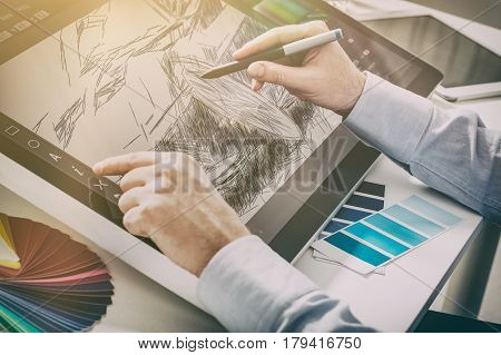 designer graphic drawing car creative creativity draw work tablet screen sketch designing coloring concept