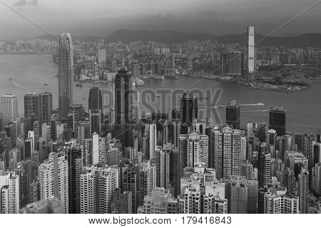 Black and White Aerial vier Hong Kong business downtown cityscape background
