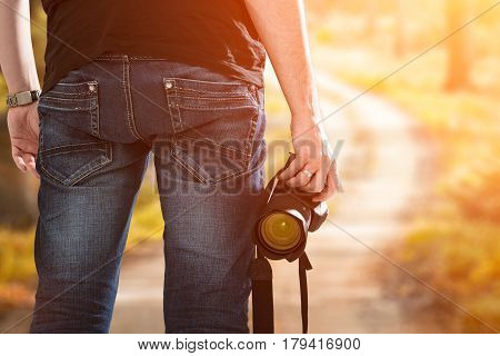 photographer photographic camera dslr photo person passion outdoor photographing travel make photography sunset sky background space banner concept