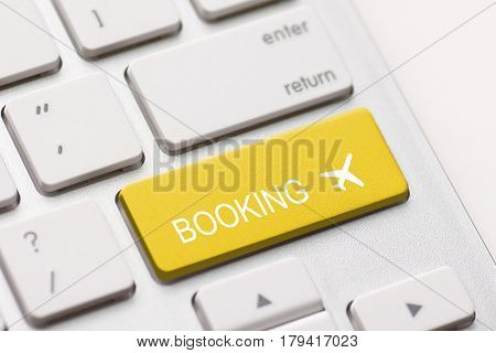 flight booking keyboard plane travel fly check buy website e-ticket key business concept