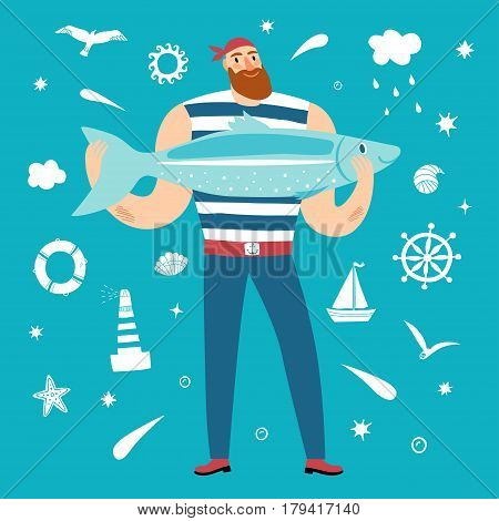 The mighty sailor with fish. Including decorative elements on background such as seagull lighthouse wheel ship cloud shellsun stars. Cartoon illustration for your design.