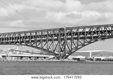 Black and White Minato Bridge cross the sea in Osaka Japan