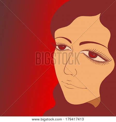 Vector portrait of beautiful latin woman with tender eyes.