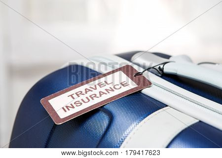 traveler travel insurance tag bag safe suitcase journey concept