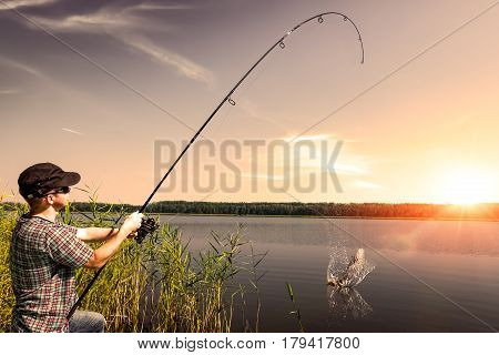 fishing rod lake fisherman men sport summer lure sunset water outdoor sunrise fish