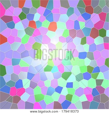Colorful digital image of pastel colored mosaic tile effect shapes in square format