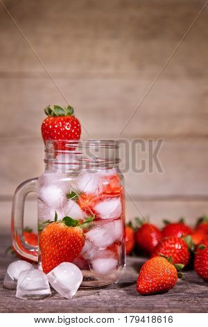 Infused Or Detox Water With Strawberries, Selfmade Lemonade