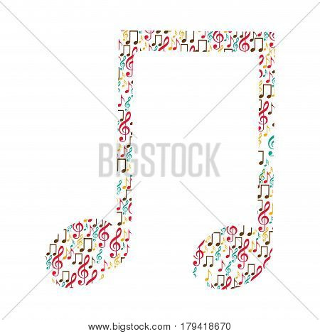 musical note color silhouette formed by musical notes vector illustration