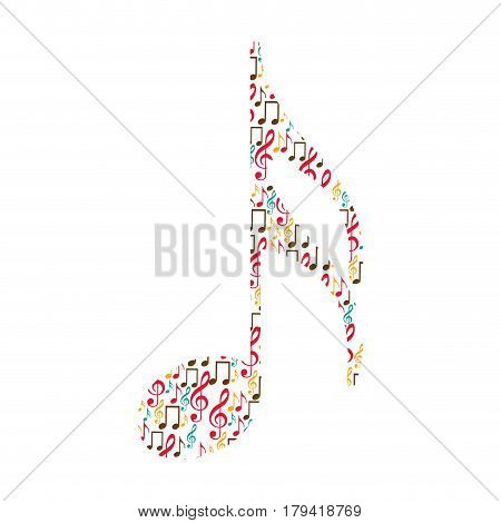semiquaver note color silhouette formed by musical notes vector illustration