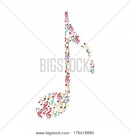 quaver note color silhouette formed by musical notes vector illustration
