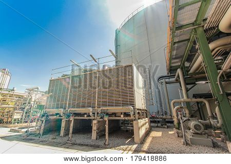 Industrial Power Plant With Blue Sky