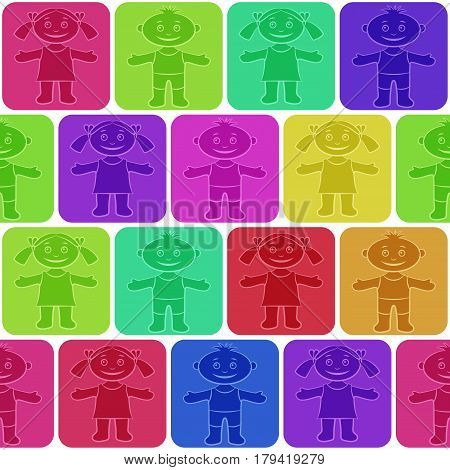 Seamless Background with Happy Silhouette Cartoon Children, Funny Little Boys and Girls, Standing and Smiling in Colorful Squares, Tile Pattern for your Design. Eps10, Contains Transparencies. Vector