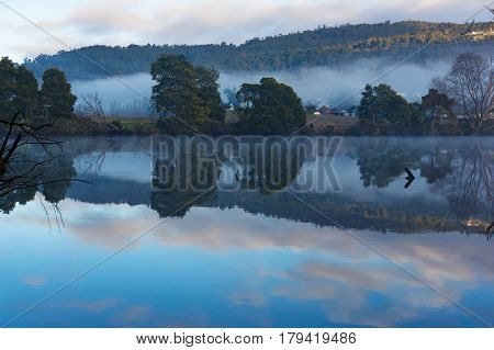Beautiful River Landscape On Calm Day