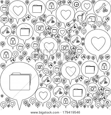 monochrome pattern formed by dialogue social icons vector illustration