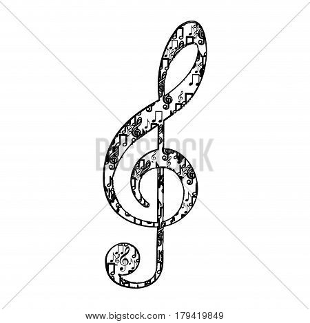 treble clef in monochrome silhouette formed by musical notes vector illustration