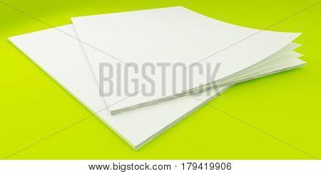 3D Illustration of Blank Brochure Template on color background