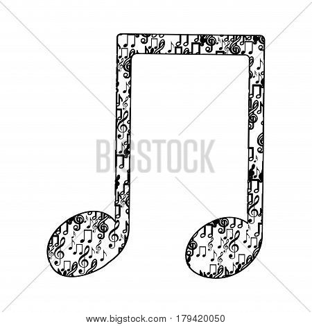 musical note monochrome silhouette formed by musical notes vector illustration