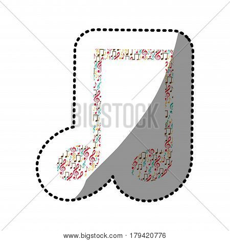 sticker musical note color silhouette formed by musical notes vector illustration