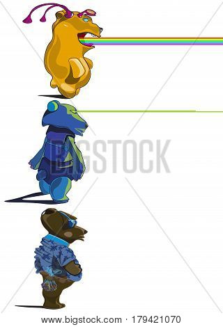 An image of three bears. One bear is an alien creature emitting a rainbow from the mouth. The second bear is a robot. He is able to radiate laser beams from the eyes. The third bear is an Earth animal, loving sweets and chocolate.